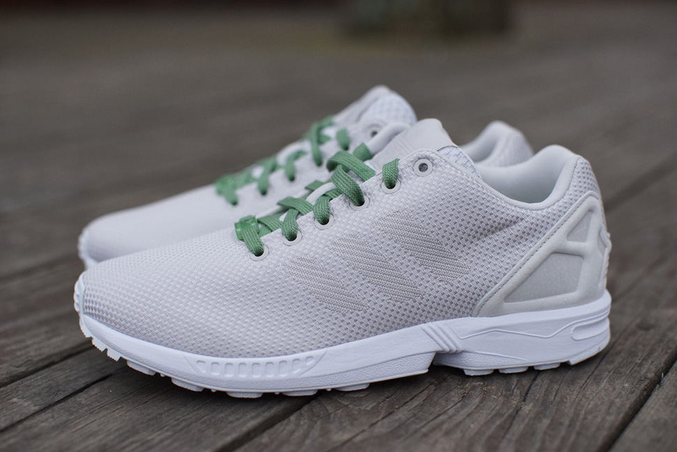 adidas ZX FLUX Weave White Grey Pea Green 1