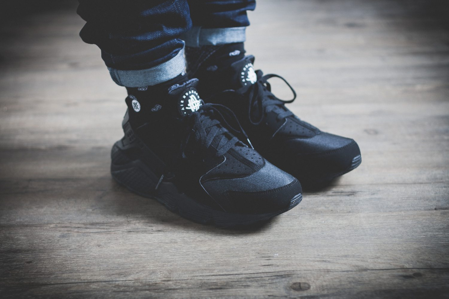 Nike Air Huarache Triple Black On Feet
