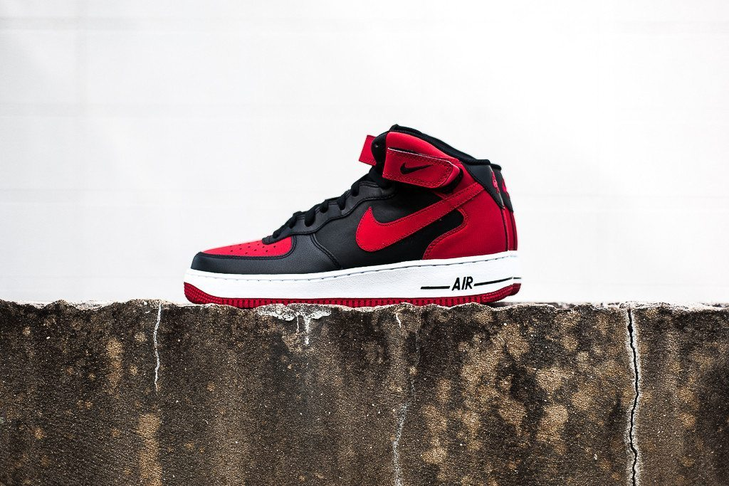 Nike Air Force 1 Mid 07 Black Red 1