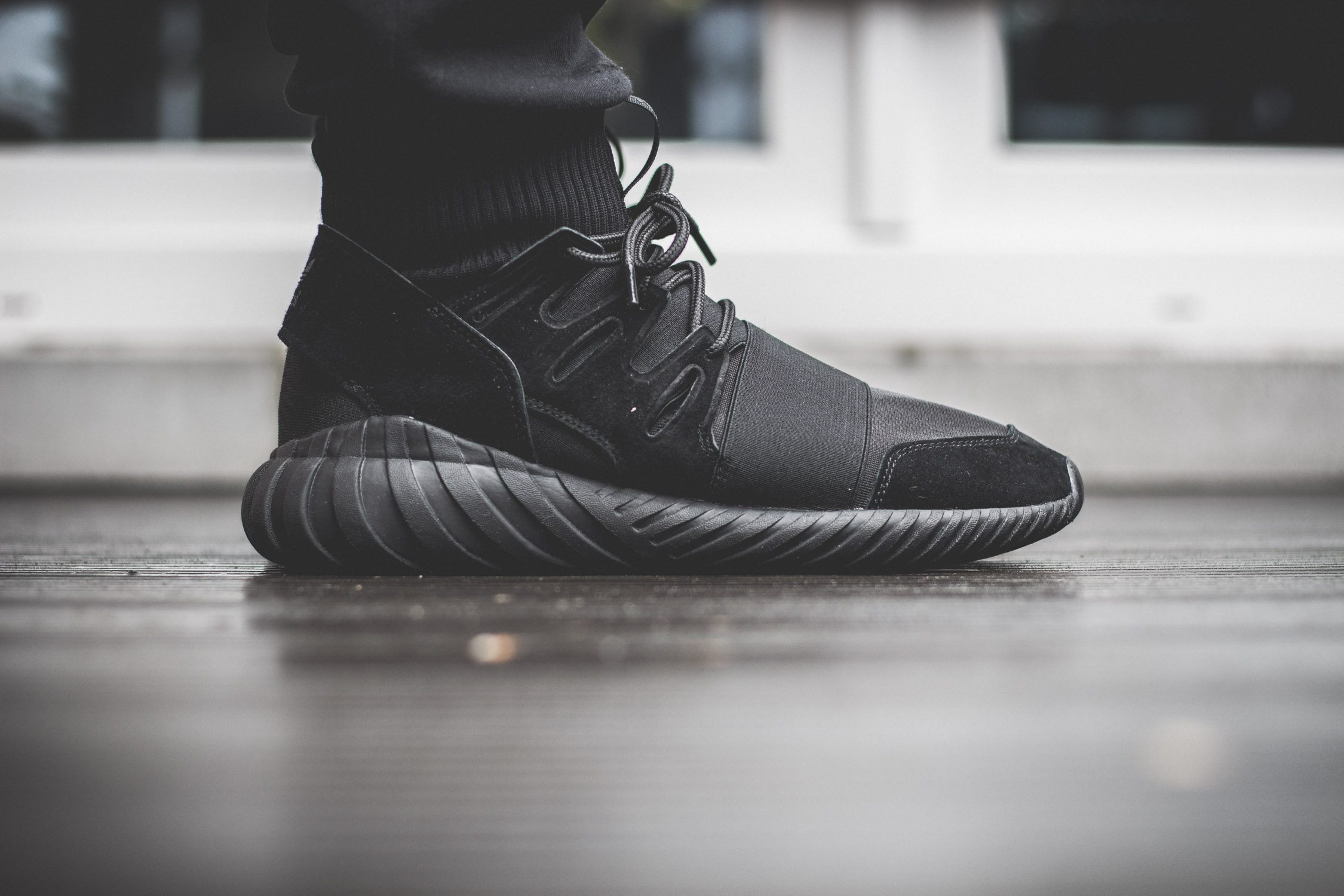 adidas Originals Tubular Doom All Black On Feet 1