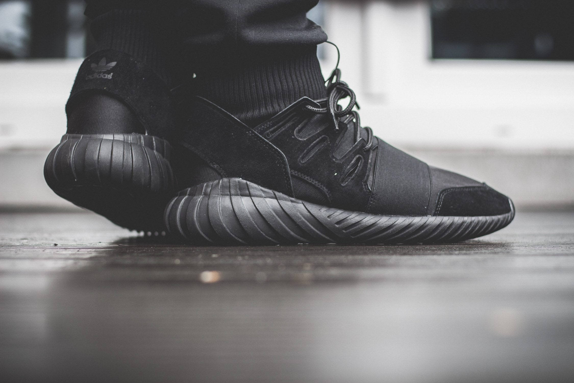 adidas Originals Tubular Doom All Black On Feet 10