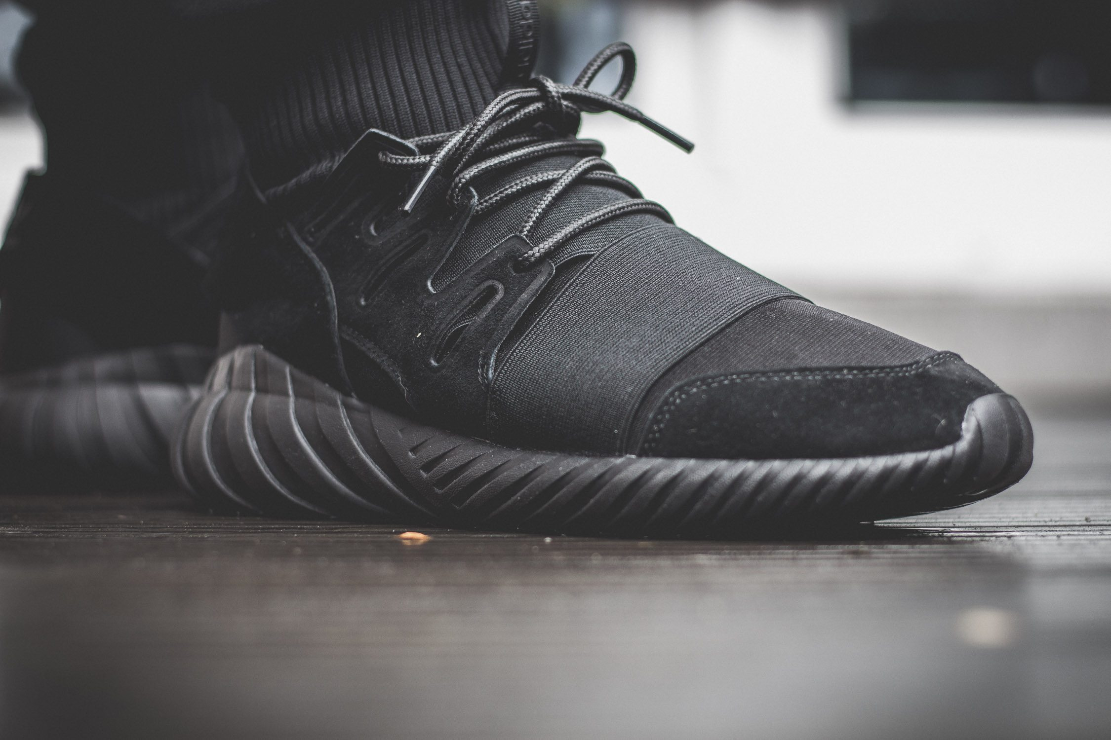 adidas Originals Tubular Doom All Black On Feet 11