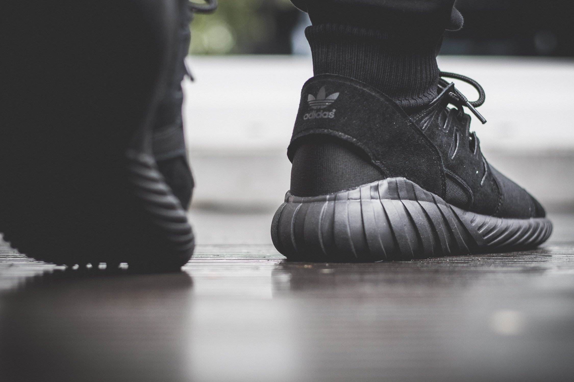 adidas Originals Tubular Doom All Black On Feet 12