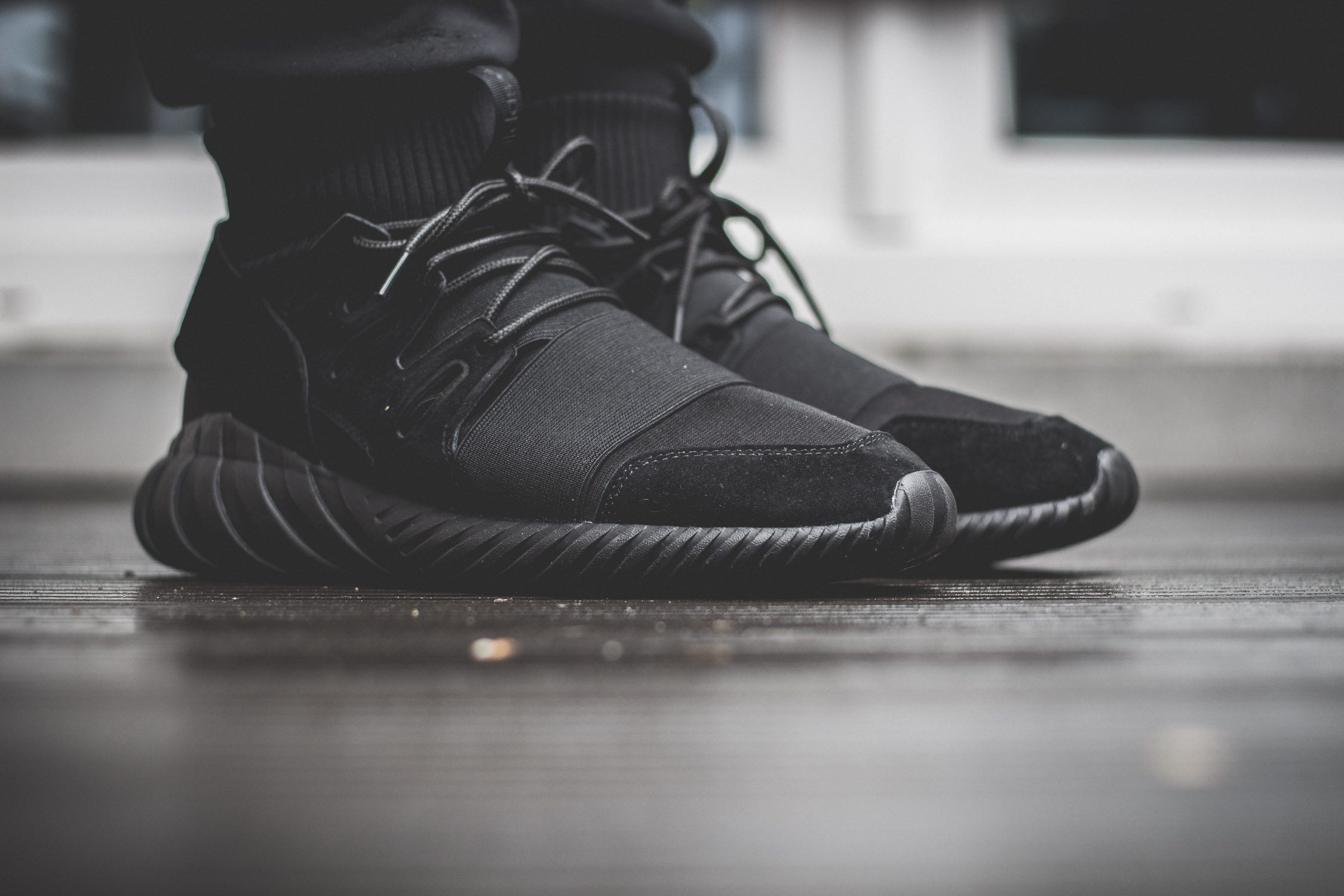 adidas Originals Tubular Doom All Black On Feet 3