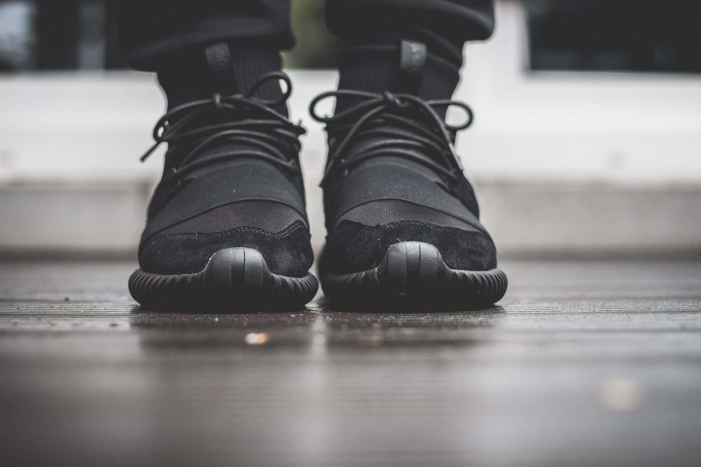 adidas Originals Tubular Doom All Black On Feet 4