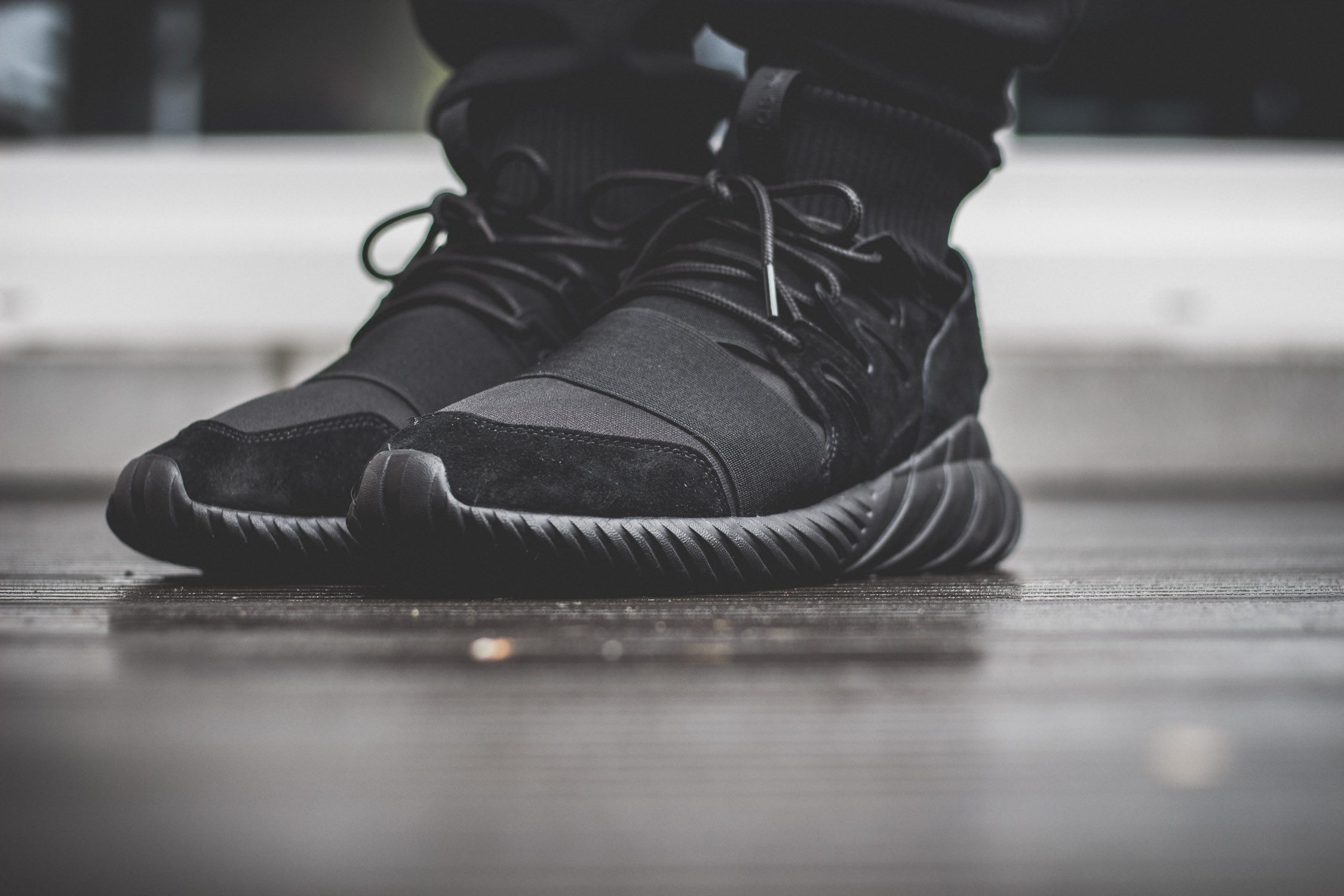 adidas Originals Tubular Doom All Black On Feet 5