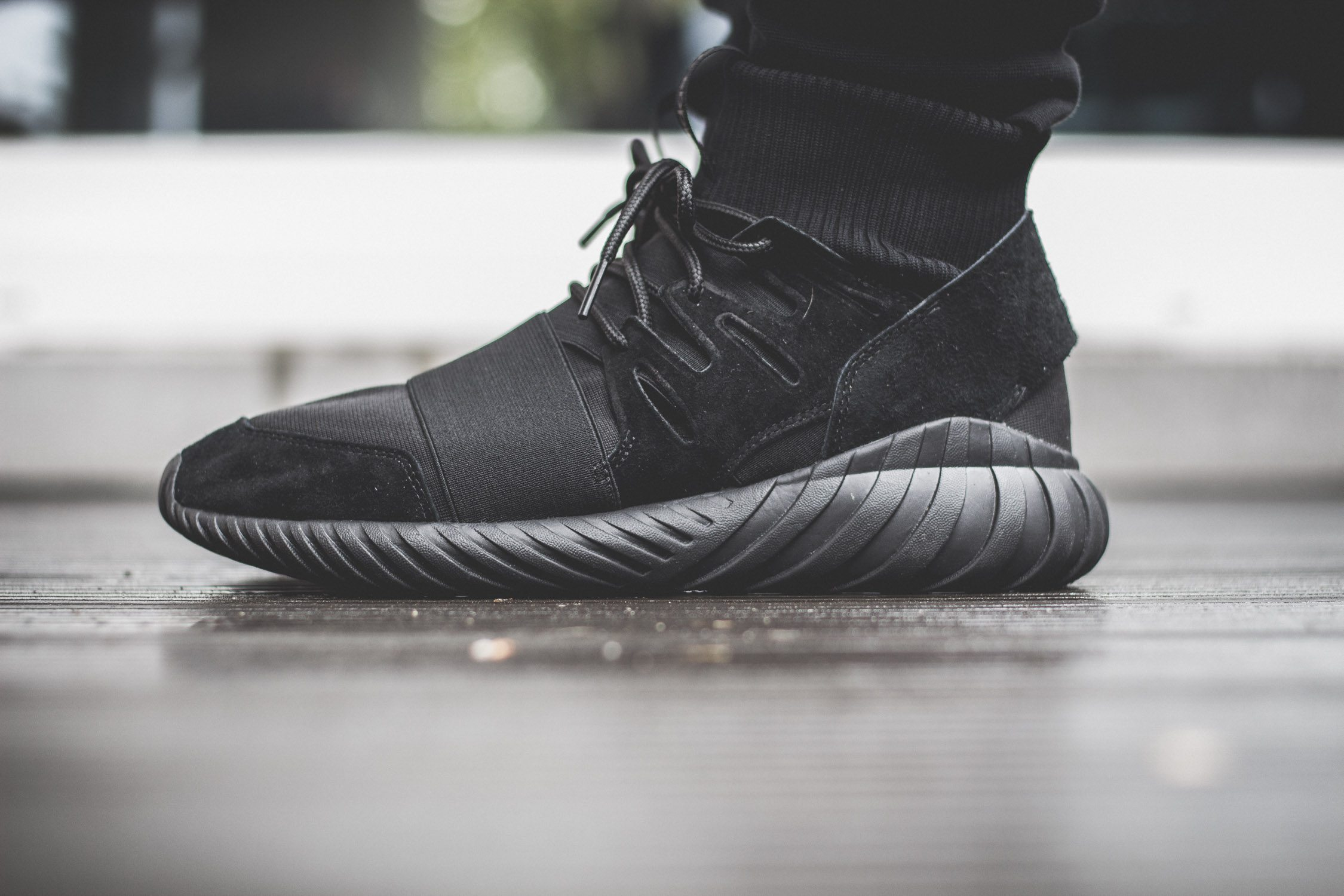 adidas Originals Tubular Doom All Black On Feet 6