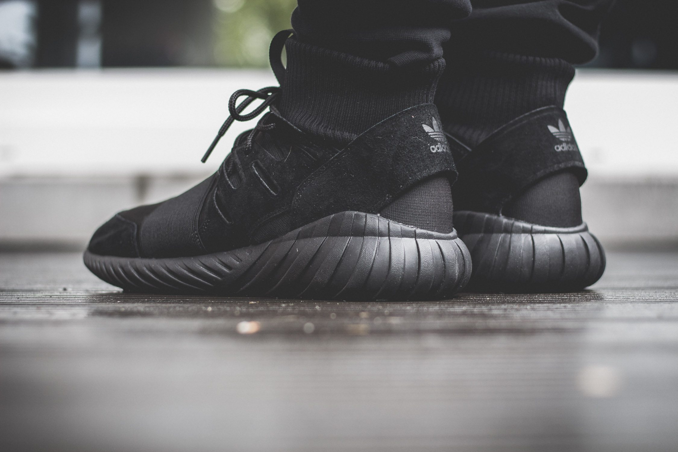 adidas Originals Tubular Doom All Black On Feet 7