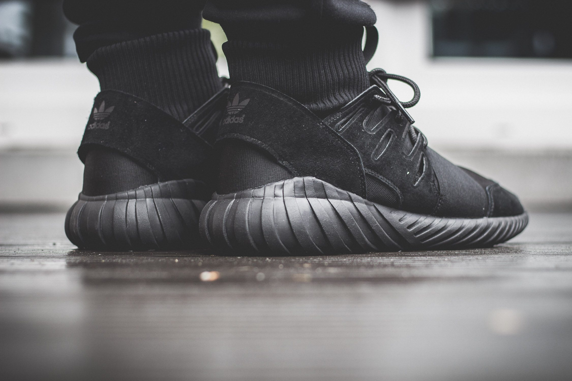 adidas Originals Tubular Doom All Black On Feet 9