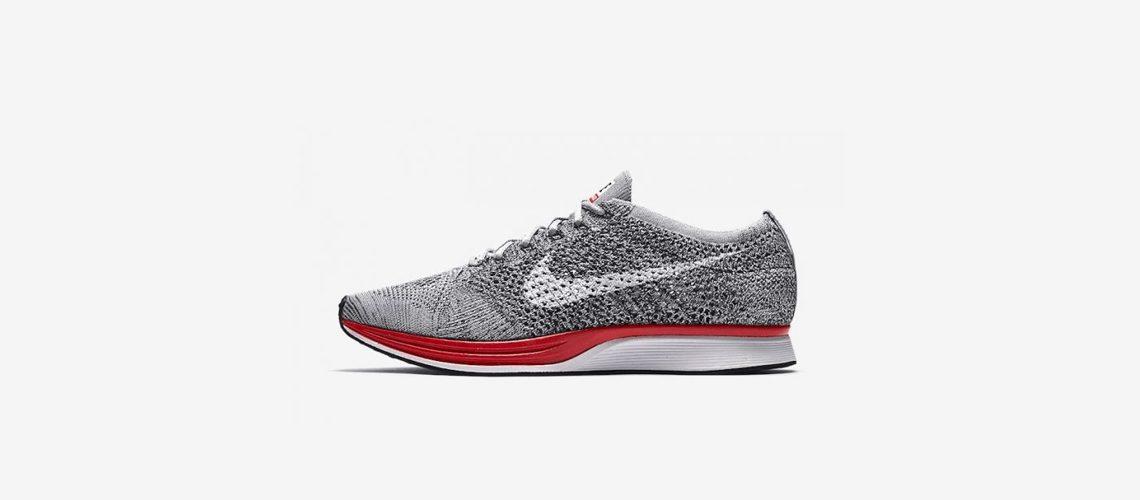 Nike Flyknit Racer Wolf Grey Red 526628 013