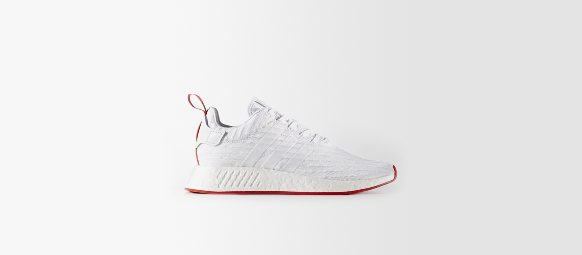 adidas NMD R2 Primeknit White Core Red BA7253