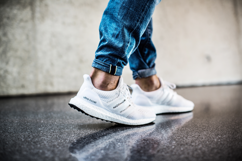 adidas Ultra Boost Triple White S77416 All White On Feet 1