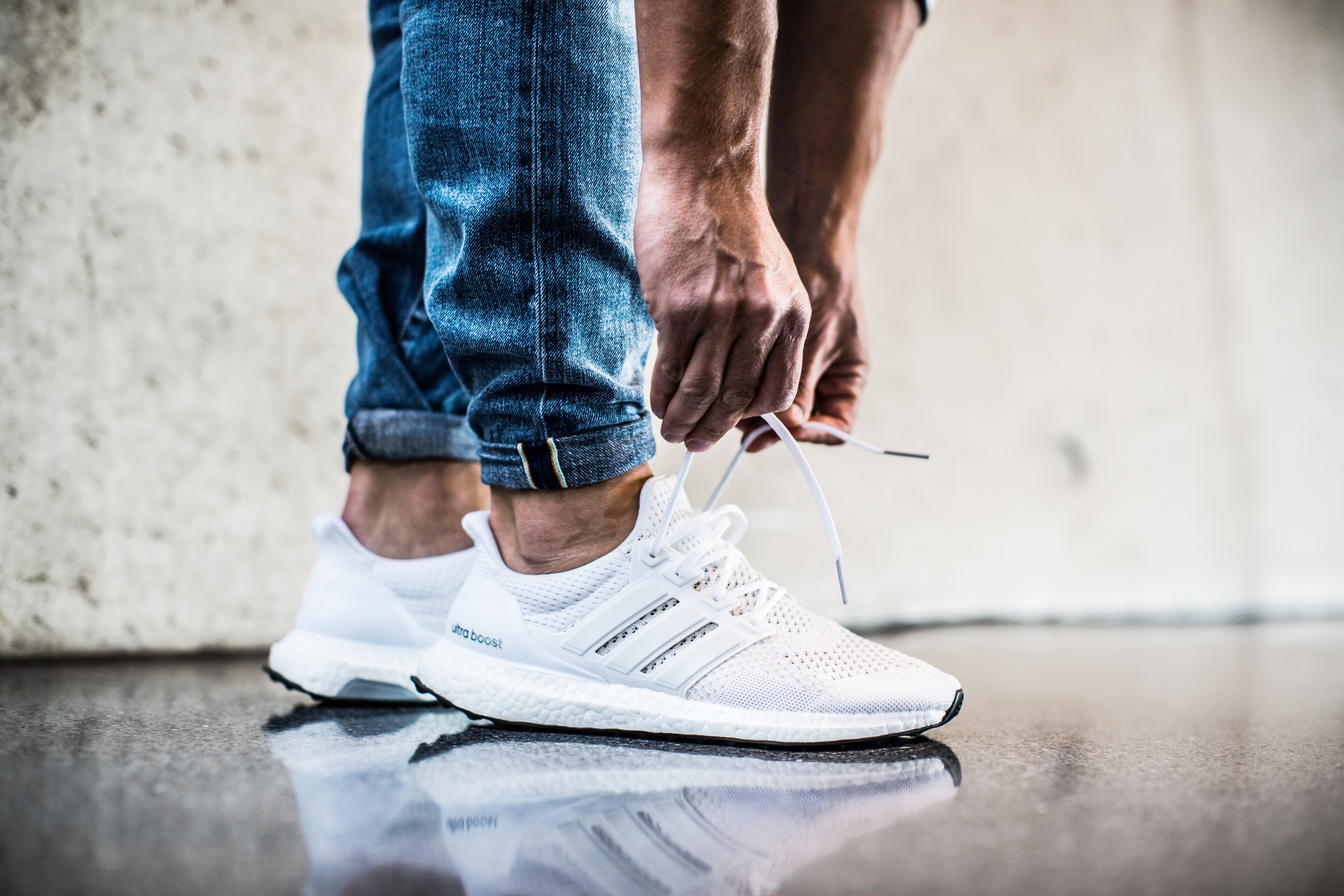 Adidas Ultra Boost Triple White On Feet
