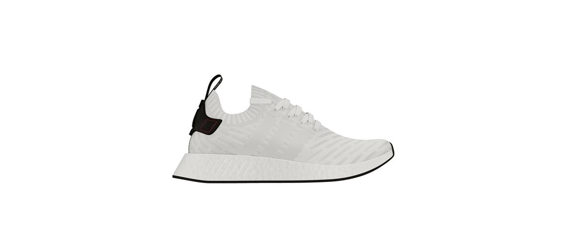 adidas NMD R2 Primeknit White Black BY3015
