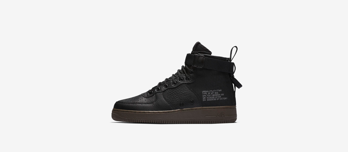917753 002 Nike SF Air Force 1 Mid Black Dark Hazel