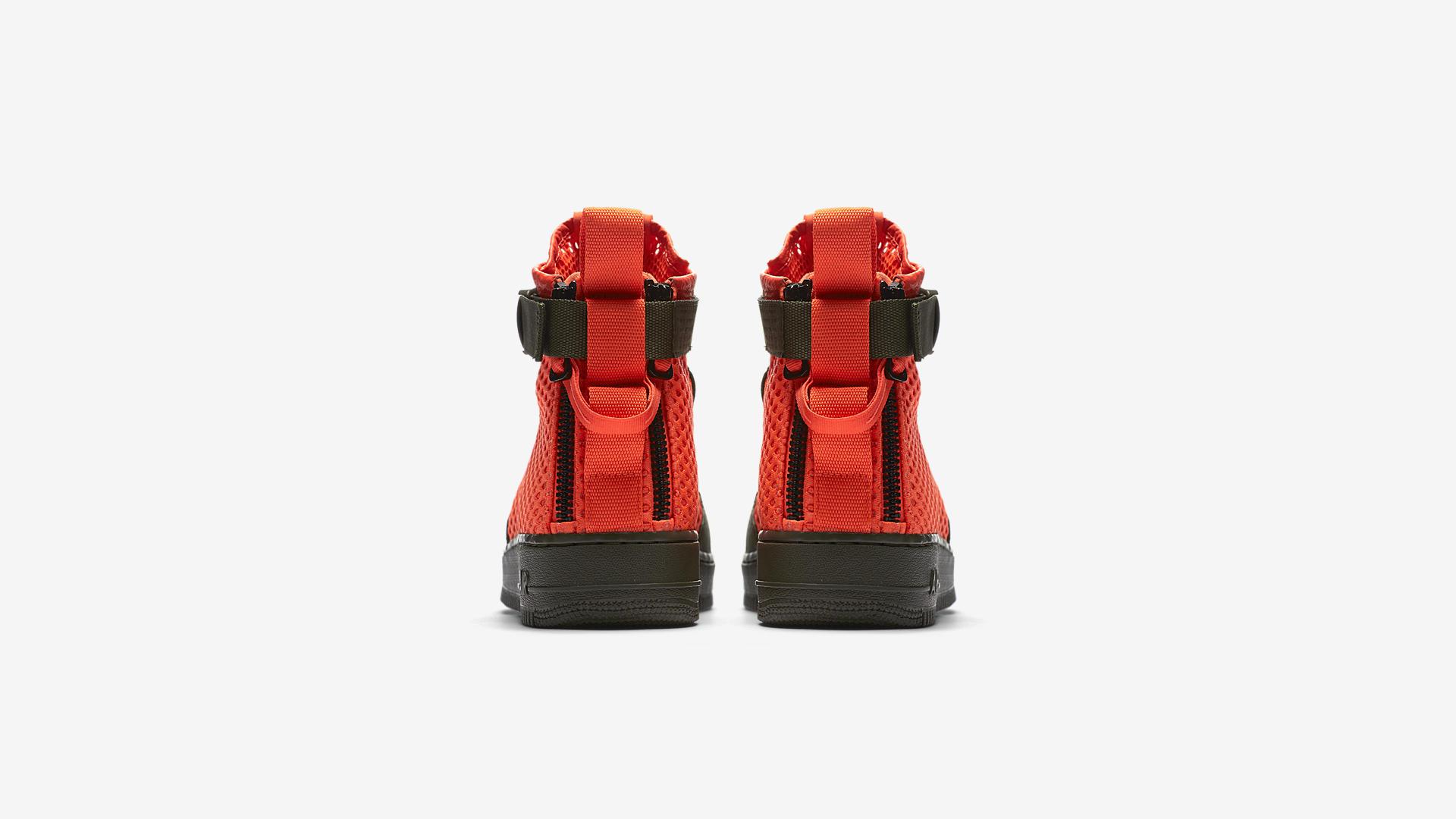 AA7345 300 Nike SF Air Force 1 Mid Cargo Khaki Total Crimson 2