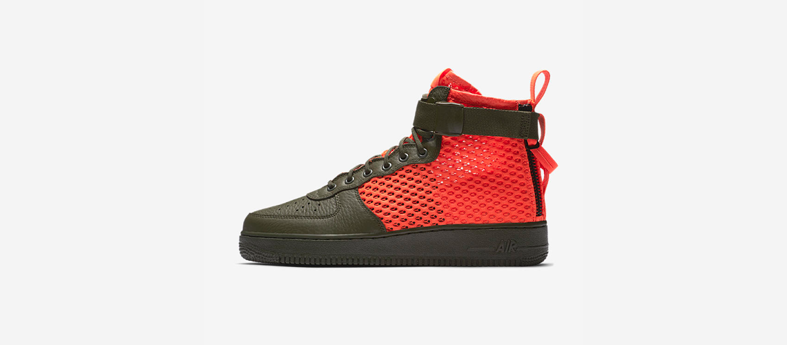 AA7345 300 Nike SF Air Force 1 Mid Cargo Khaki Total Crimson