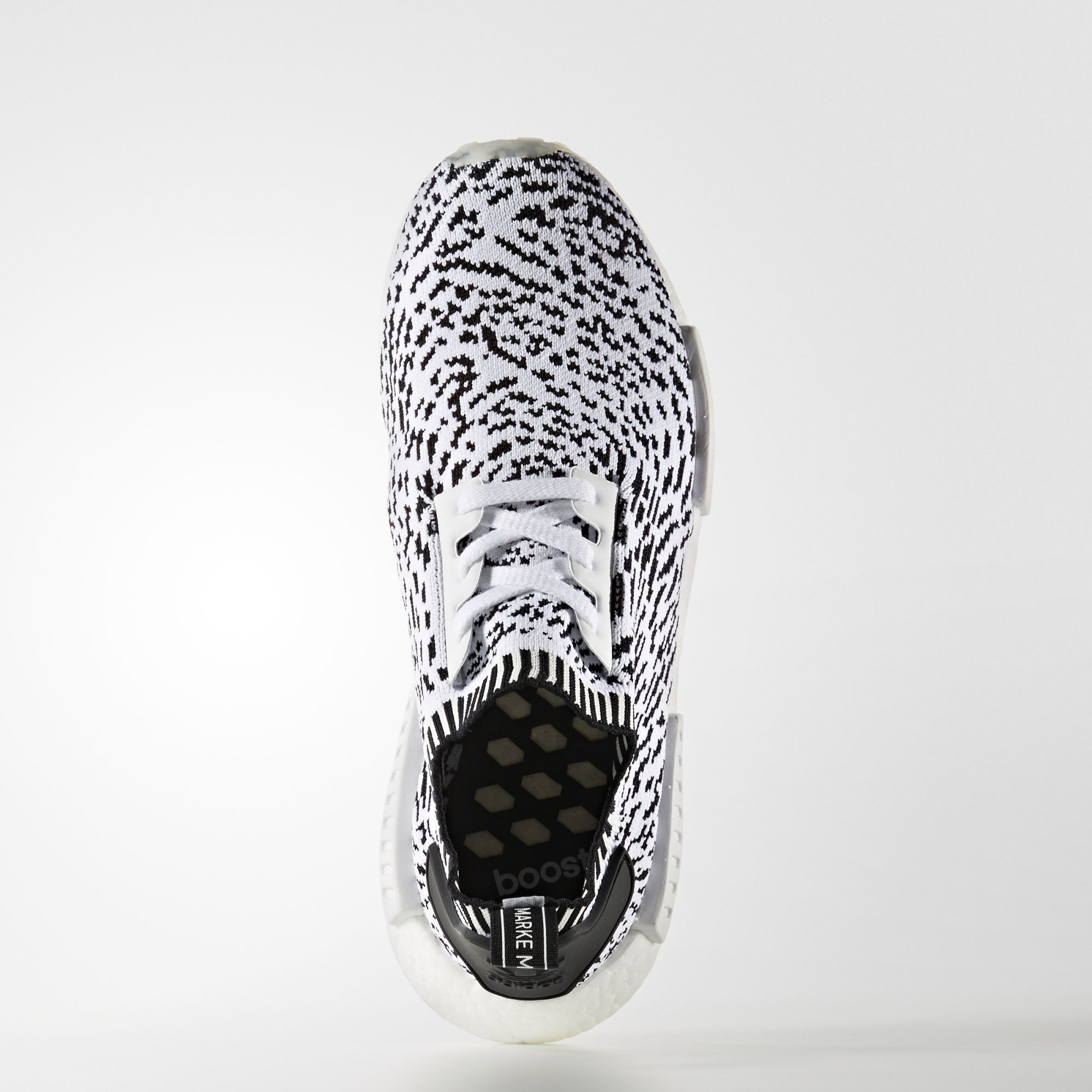 BZ0219 adidas NMD R1 Primeknit White Black 1